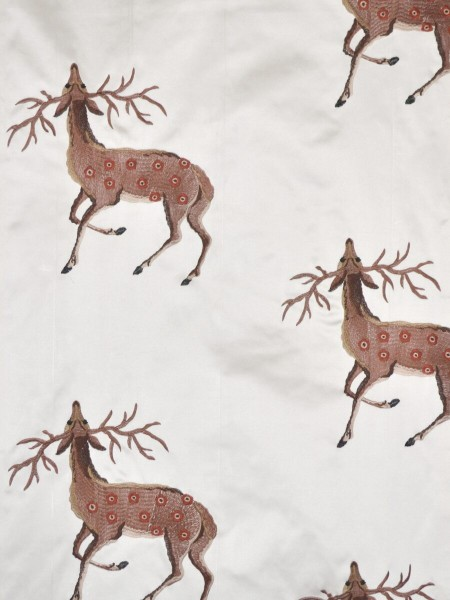 Silver Beach Embroidered Sika Deer Faux Silk Fabric Sample (Color: Ivory)