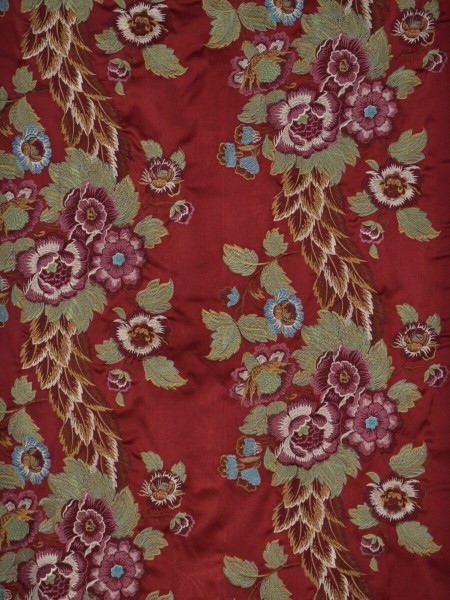 Silver Beach Embroidered Forest Theme Faux Silk Fabric Sample (Color: Crimson)