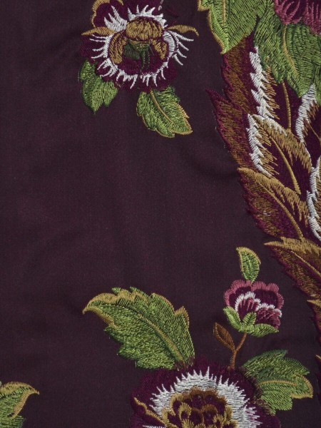 Silver Beach Embroidered Forest Theme Faux Silk Fabric Sample (Color: Maroon )