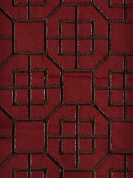 Silver Beach Embroidered Chinese-inspired Faux Silk Fabric Sample (Color: Crimson)