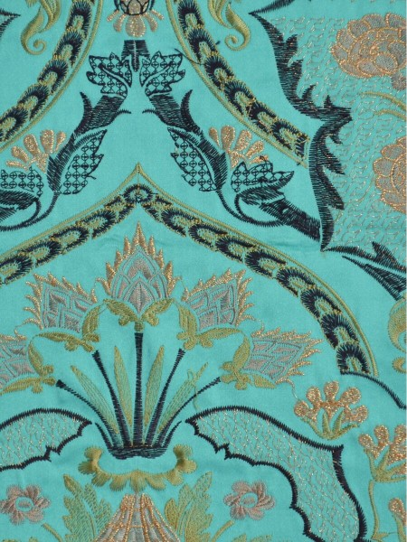 Silver Beach Embroidered Colorful Damask Grommet Faux Silk Curtains (Color: Medium turquoise)