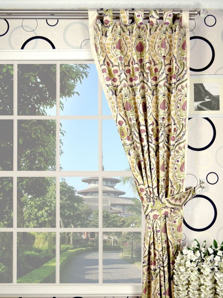 Silver Beach Embroidered Colorful Damask Tab Top Faux Silk Curtains