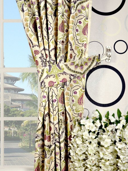 Silver Beach Embroidered Colorful Damask Tab Top Faux Silk Curtains Decorative Tiebacks