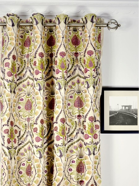 Silver Beach Embroidered Colorful Damask Grommet Faux Silk Curtains Heading Style