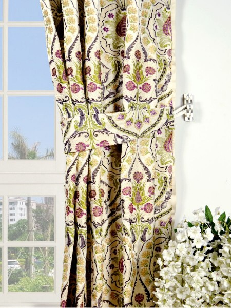 Silver Beach Embroidered Colorful Damask Grommet Faux Silk Curtains Decorative Tiebacks