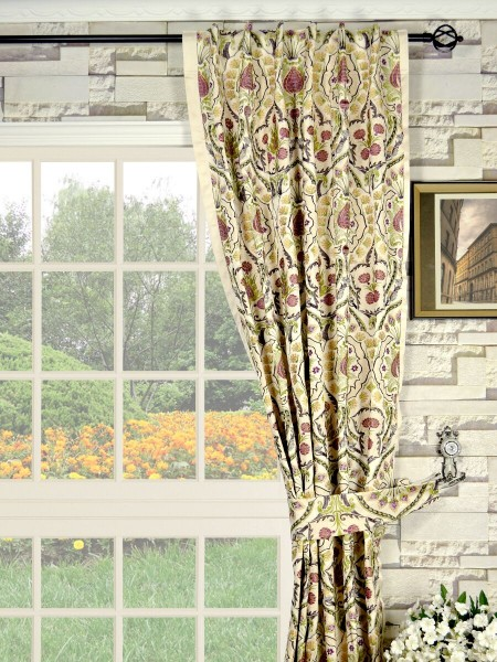 Silver Beach Embroidered Colorful Damask Back Tab Faux Silk Curtains