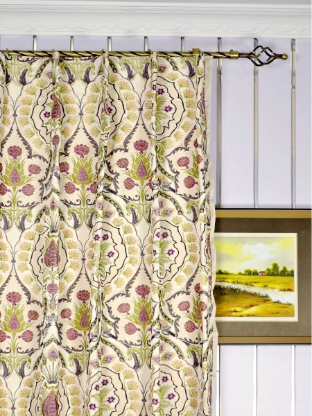 Silver Beach Embroidered Colorful Damask Single Pinch Pleat Faux Silk Curtains Heading Style