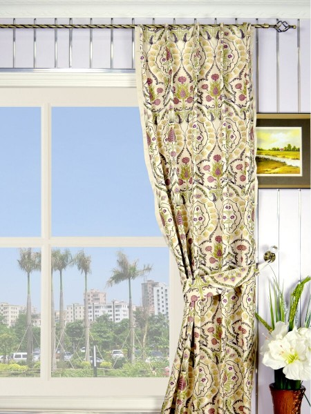 Silver Beach Embroidered Colorful Damask Single Pinch Pleat Faux Silk Curtains