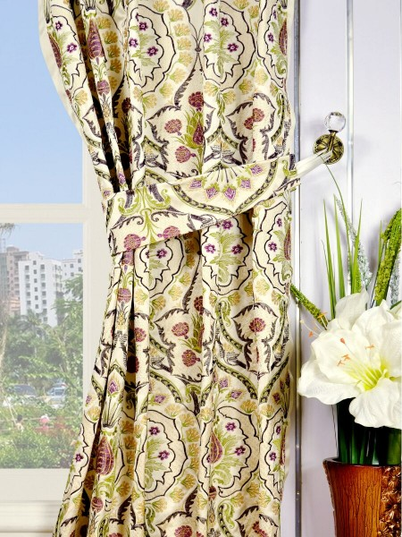 Silver Beach Embroidered Colorful Damask Single Pinch Pleat Faux Silk Curtains Decorative Tiebacks