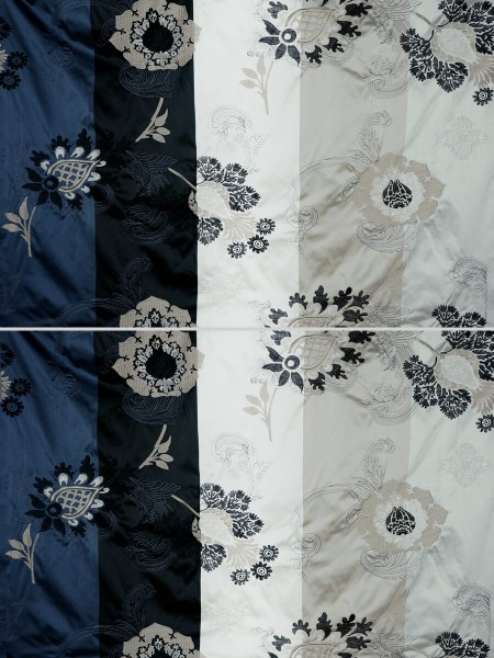 Silver Beach Embroidered Leaves Faux Silk Custom Made Curtains (Color: Ecru)