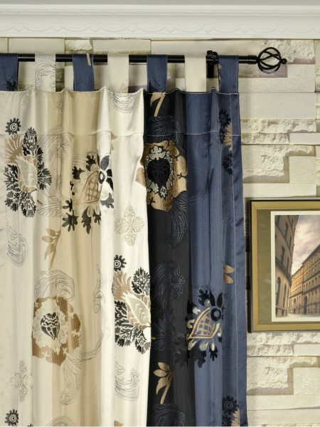 Silver Beach Embroidered Leaves Faux Silk Custom Made Curtains (Heading: Tab Top)