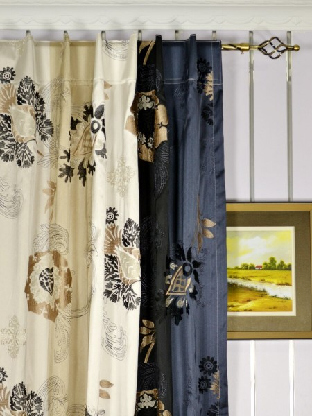 Silver Beach Embroidered Leaves Faux Silk Custom Made Curtains (Heading: Back Tab)