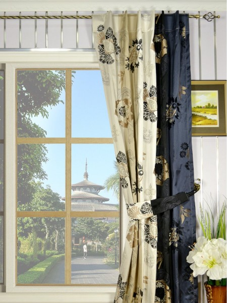 Silver Beach Embroidered Leaves Back Tab Faux Silk Curtains