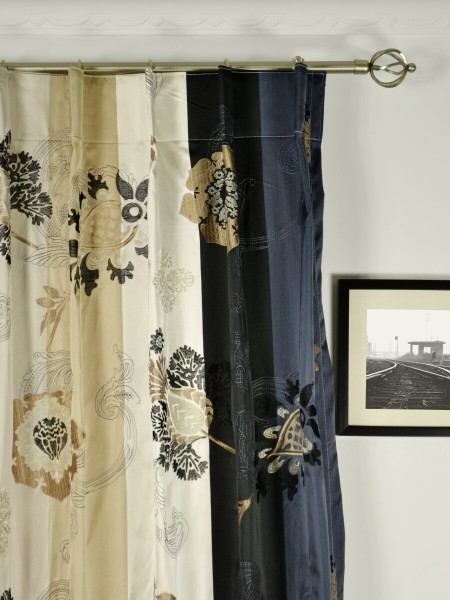 Silver Beach Embroidered Leaves Faux Silk Custom Made Curtains (Heading: Single Pinch Pleat)