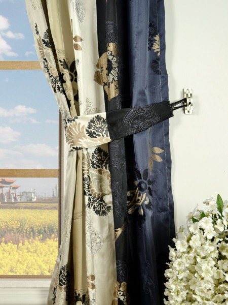 Silver Beach Embroidered Leaves Single Pinch Pleat Faux Silk Curtains Decorative Tiebacks