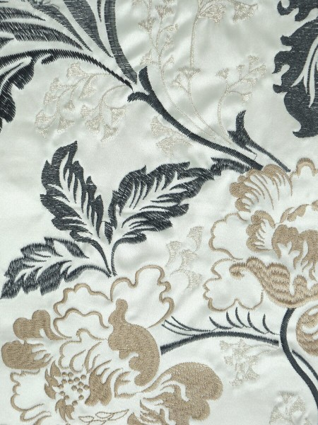 Silver Beach Superb Embroidered Faux Silk Fabric Sample (Color: Black)