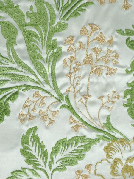 Silver Beach Superb Embroidered Faux Silk Fabric Sample (Color: Lime green)