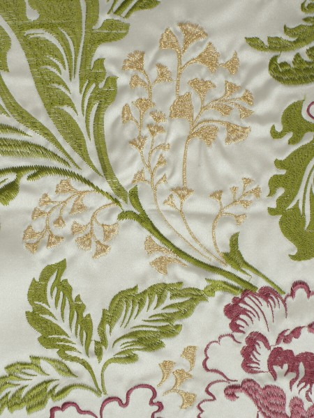 Silver Beach Superb Embroidered Faux Silk Fabric Sample (Color: Fandango()