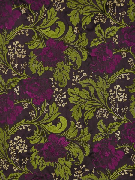 Silver Beach Superb Embroidered Faux Silk Fabric Sample (Color: Pear)