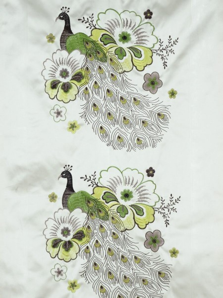 Silver Beach Embroidered Peacocks Faux Silk Fabric Sample (Color: Pear)