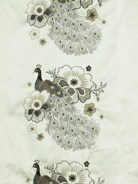 Silver Beach Embroidered Peacocks Faux Silk Fabric Sample (Color: Pale brown)