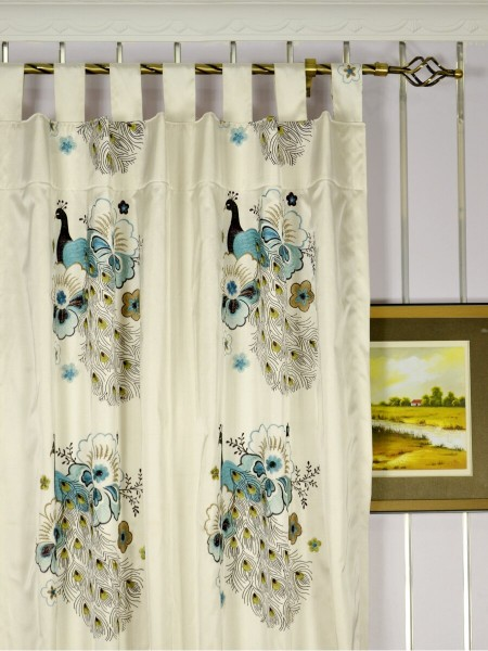 Silver Beach Embroidered Peacocks Tab Top Faux Silk Curtains Heading Style