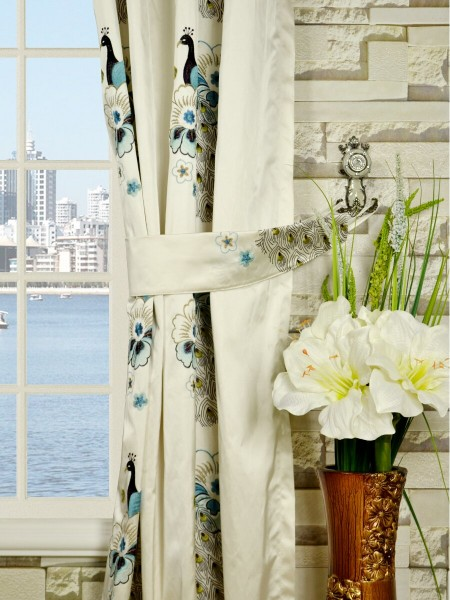 Silver Beach Embroidered Peacocks Grommet Faux Silk Curtains Decorative Tiebacks