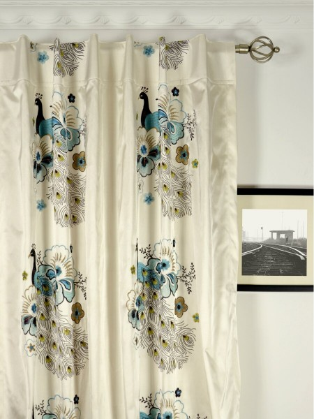 Silver Beach Embroidered Peacocks Faux Silk Custom Made Curtains (Heading: Back Tab)