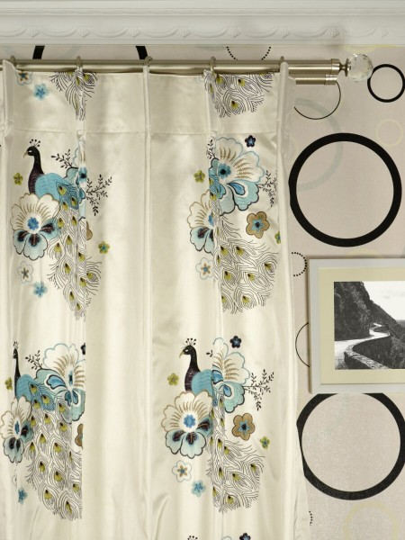Silver Beach Embroidered Peacocks Single Pinch Pleat Faux Silk Curtains Heading Style