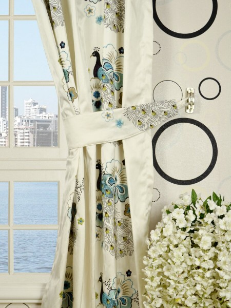 Silver Beach Embroidered Peacocks Single Pinch Pleat Faux Silk Curtains Decorative Tiebacks