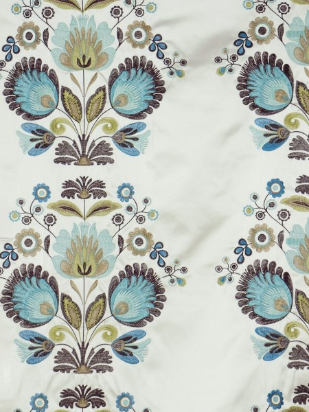 Silver Beach Embroidered Blossom Tab Top Faux Silk Curtains (Color: Aqua)