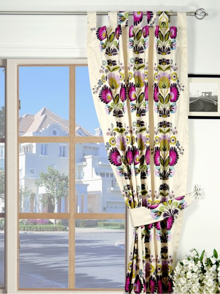 Silver Beach Embroidered Blossom Tab Top Faux Silk Curtains