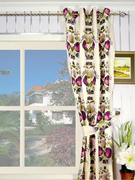 Silver Beach Embroidered Blossom Grommet Faux Silk Curtains