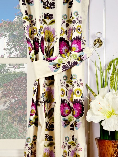 Silver Beach Embroidered Blossom Grommet Faux Silk Curtains Decorative Tiebacks
