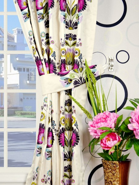 Silver Beach Embroidered Blossom Back Tab Faux Silk Curtains Decorative Tiebacks