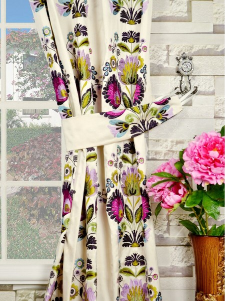Silver Beach Embroidered Blossom Single Pinch Pleat Faux Silk Curtains Decorative Tiebacks