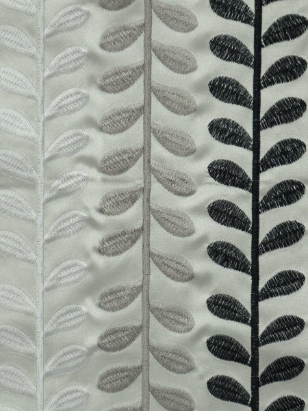 Silver Beach Embroidered Sprouts Faux Silk Fabric Sample (Color: Light gray)