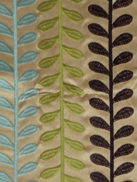 Silver Beach Embroidered Sprouts Faux Silk Fabric Sample (Color: Wheat)