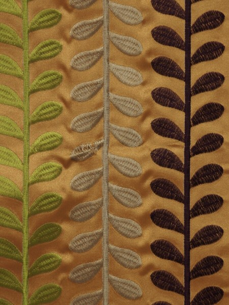 Silver Beach Embroidered Sprouts Faux Silk Fabric Sample (Color: Peru)