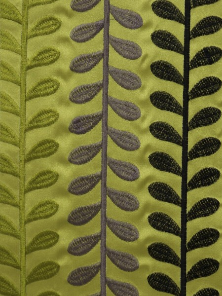 Silver Beach Embroidered Sprouts Faux Silk Fabric Sample (Color: Pear)