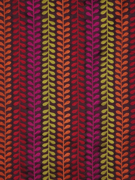 Silver Beach Embroidered Sprouts Faux Silk Fabric Sample (Color: Maroon )