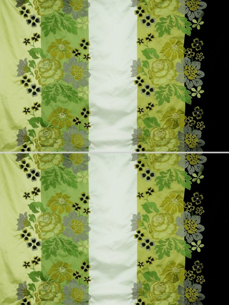 Silver Beach Embroidered Lively design Faux Silk Custom Made Curtains (Color: Pear)