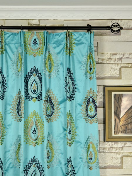 Silver Beach Embroidered Extravagant Faux Silk Custom Made Curtains (Heading: Versatile Pleat)