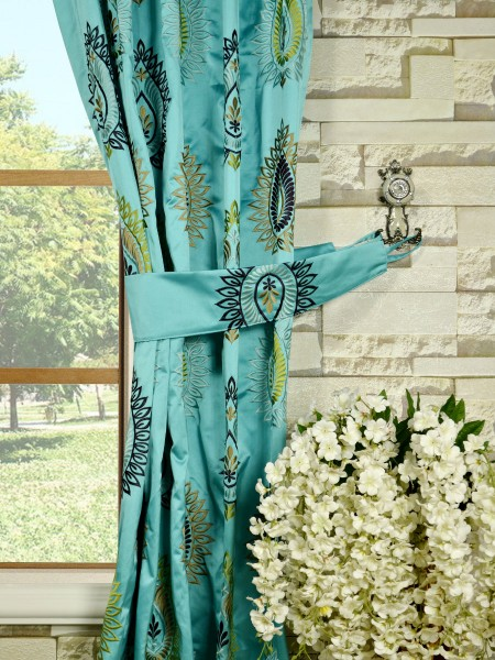 Silver Beach Embroidered Extravagant Versatile Pleat Faux Silk Curtains Decorative Tiebacks