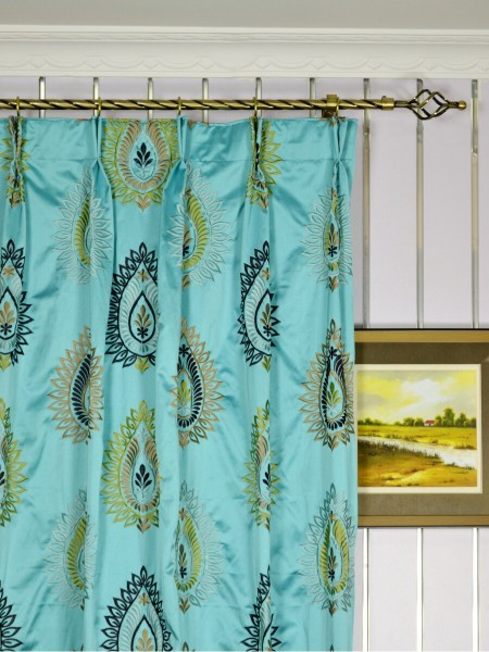 Silver Beach Embroidered Extravagant Double Pinch Pleat Faux Silk Curtains Heading Style