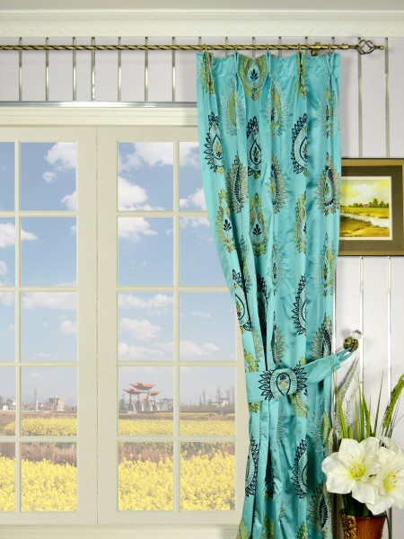 Silver Beach Embroidered Extravagant Double Pinch Pleat Faux Silk Curtains