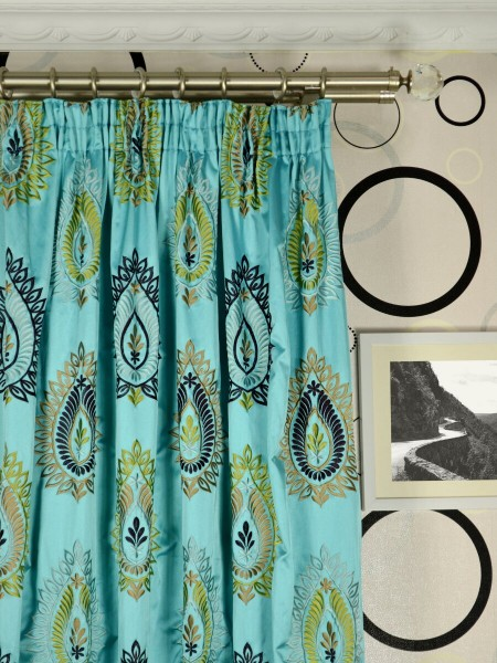 Silver Beach Embroidered Extravagant Faux Silk Custom Made Curtains (Heading: Pencil Pleat)