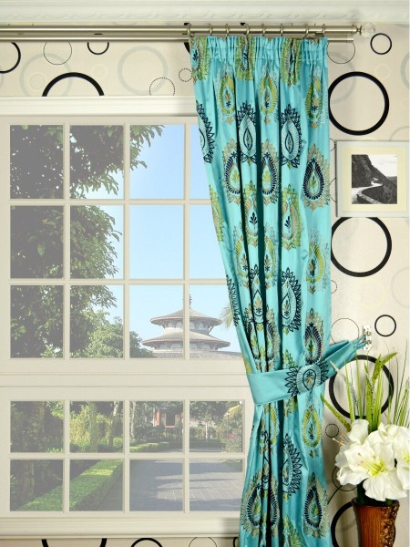 Silver Beach Embroidered Extravagant Pencil Pleat Faux Silk Curtains