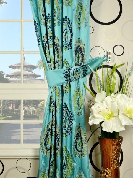 Silver Beach Embroidered Extravagant Pencil Pleat Faux Silk Curtains Decorative Tiebacks