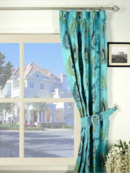 Silver Beach Embroidered Extravagant Goblet Faux Silk Curtains